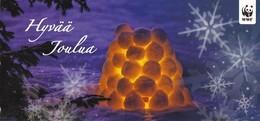 Postal Stationery Bullfinch - Winter Scene - Candle Snow Lantern - WWF Panda Logo - Suomi Finland - Postage Payed - Finlande