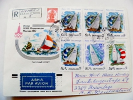 Cover Ussr Olympic Games Moscow 1980 Registered Sailing Regatta Ships Tallinn Estonia - 1923-1991 UdSSR