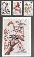 Ghana 1989 Audubon Birth Bicent .Surcharged With S/S  USED - Ghana (1957-...)