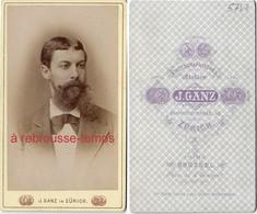 CDV Belgique Et Suisse-beau Portrait De Caractère- Homme Barbe Mal Taillée- Atelier Ganz à Zurich Et Bruxelles - Anciennes (Av. 1900)