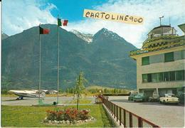 Val D'aosta Aosta Aeroporto Citta Di Aosta Veduta Pista Aerei Torre Controllo Auto Car Animata - Aerodromi