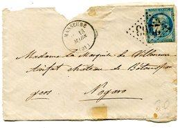 GERS De MASSEUBE Devant Env. Du 13/03/1873 Avec N°45 Report 3 Oblitéré GC 2263+boîte Rurale S - 1849-1876: Classic Period