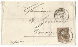 SAGE 30C BRUN PERFORE TRIANGLE DEVANT LETTRE GRENOBLE 12 DEC 1878 - Perfins