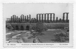 (RECTO / VERSO) MERIDA EN 1951 - N° 82 - ACUEDUCTO Y PUENTE ROMANO EL ALBARREGAS - CARTE PHOTO FORMAT CPA VOYAGEE - Mérida