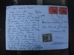 Lot 2 Lettre Taxee Provenance Italie Timbre Gerbes Gerbes 20 F Et 0.20 - Lettres Taxées