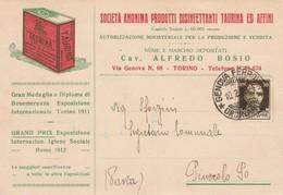 CARTOLINA - SOCIETA' ANONIMA PRODOTTI DISINFETTANTI TAURINIA ED AFFINI (TO) - VIAGGIATA - F/G - COLORI - LEGGI - Publicité