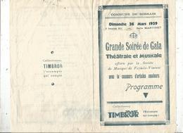 Programme, Grande Soirée De Gala Théâtrale Et Musicale ,SOSSAIS,Vienne ,1939 , 2 Scans , Frais Fr 1.75 E - Programmes