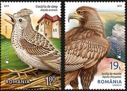 ROMANIA 2019: EUROPA - NATIONAL BIRDS 2 Mint Stamps - Registered Shipping! Envoi Enregistre! - Aquile & Rapaci Diurni
