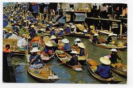(RECTO / VERSO) THAILANDE - FLOATING MARKET - BEAU TIMBRE ET CACHET  - FORMAT CPA VOYAGEE - Thailand