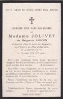 Faire-part De Décès - Mémento - Marguerite Jolivet Née Saucon - Mas D'Agenais (47) - 4 Janvier 1916 - Décès