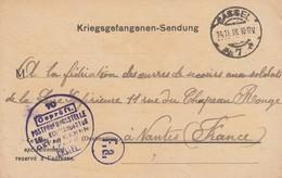 Kriegsgefangenen-Sendung Obl CASSEL Du 14.11.18 Adressée à Nantes - Poststempel (Briefe)