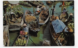 (RECTO / VERSO) THAILANDE - THE FLOATING MARKET -  BEAUX TIMBRES - PLI A DROITE - FORMAT CPA VOYAGEE - Thailand