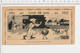 2 Scans Humour Lever Du Soleil Chant Du Coq Volaille Basse-cour Auberge Relais Routier Chef Cuisinier Rooster 226J - Vecchi Documenti
