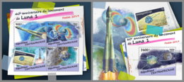 CENTRAL AFRICA 2019 Luna 1 Landing Landung Lancement Space Raumfahrt Espace M/S+S/S - OFFICIAL ISSUE - DH1915 - Spazio