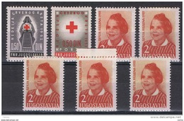 JUGOSLAVIA:  1952/55  BENEFICENZA  -  7  VAL. L. -  YV/TELL. 15//21 - Beneficenza