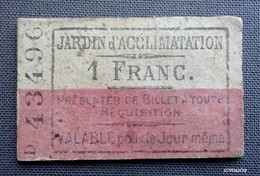 PARIS :Ancien Ticket D'entrée Pour Le Jardin D'acclimatation - Verso : Pub. Pour La Livraison De Lait Frais Des Vaches - Tickets D'entrée
