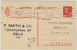 Norwegen - 20 Ö. Ganzsache Auslandskarte Oslo - Hamburg 1927 - Norwegen