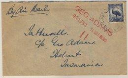 Papua New Guinea - 5 1/2 P. Emu Luftpostbrief N. TASMANIEN Samarai - Hobart 1950 - Papua-Neuguinea