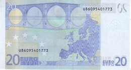(Billets). 20 Euros 2002 Serie U, L087A2, N° U 86095401773,  Signature 3 Mario Draghi UNC - EURO