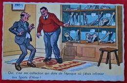 """Cpa Fantaisie  Humour   """"Sport D Hiver"""" - Illustrateurs & Photographes"""