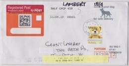 Australia 2019 Greetings - Impressions $1 Teddy Bear Self-adhesive On Domestic Registered Letter - 2010-... Elizabeth II
