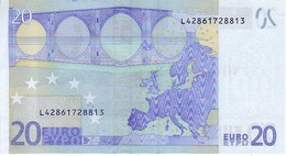 (Billets). 20 Euros 2002 Serie L, R026H2, N° L 42861728813,  Signature 3 Mario Draghi UNC - EURO