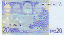 (Billets). 20 Euros 2002 Serie P, R030F3, N° P 39122457967,  Signature 3 Mario Draghi UNC - EURO