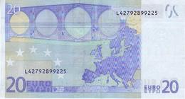 (Billets). 20 Euros 2002 Serie L, R026A4, N° L 42792899225,  Signature 3 Mario Draghi UNC - EURO
