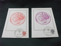 MAXIMUM  2 Cartoline 145/6 ALLEGORIA ITALIA TURRITA RICAVATA DA MONETA SIRACUSANA  LIRE 150 E 400 - Monnaies (représentations)