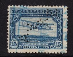Newfoundland 1930 First Transatlantic Flight 15c Perfin Used Sc 170 SG 186 - 1908-1947