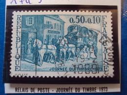 """1970-79-timbre Oblitéré N° 1749    """"  Relais Poste, Journee Du Timbre 73     """"           0.50 - France"""