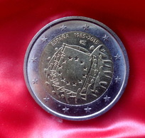 Spain 2 Euro 2015 30th Anniversary Of The Flag Of Europecoin  CIRCULATED - Spanien