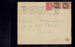 Lettre à Destination De La CROIX ROUGE à Genève-Ouverte Par La Censure Allemande-Affranchie Avec 517 X 2 + 547 - - France