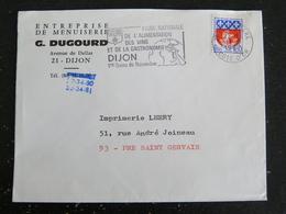 DIJON GARE - COTE D OR - FLAMME FOIRE ALIMENTATION VINS GASTRONOMIE SUR ARMOIRIES PARIS - Marcophilie (Lettres)