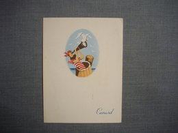 """Carte MENU Illustrée Sur Le """" QUEEN ELISABETH """"  Du 1 Mars 1958  -  CUNARD  -  Bâteaux  -  Transport  - Restaurant - Menus"""