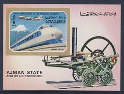 Ajman 1972 B 402 = Mi 1856 Aero ** 100th Ann. Japanese Railways / Einschienenbahn (Japan) - Treinen