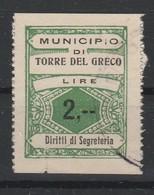 Torre Del Greco. Marca Municipale Diritti Di Segreteria L. 2, --. - Other