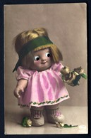 CP 5- RARE- FILLETTE-POUPÉE AVEC YEUX EN VERRE- PORTANT DES FLEURS-  CP-PHOTO DES ANNÉES 1920-30- TRES GROS PLAN- - Cartes Humoristiques