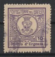 Torre Del Greco. Marca Municipale Diritti Di Urgenza L. 10 (colore Diverso Dal Precedente). - Other