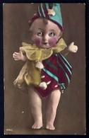 CP 5- RARE- ENFANT-POUPON AVEC YEUX EN VERRE-EN  COSTUME DE PIERROT-  CP-PHOTO DES ANNÉES 1920-30- TRES GROS PLAN- - Cartes Humoristiques