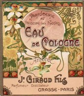 Etiquette Parfum Grasse Giraud Parfumerie Au Principe Des Fleurs Eau De Cologne Ambréee - Etiquetas