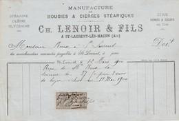 Petite Facture 1900 / Ch. LENOIR / Manufacture Cierges & Bougies / 01 Saint-Laurent Les Mâcon / Ain - France