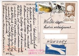 M489 South Africa Par Avion Carte Postale Affranchissement Mixte, Mahatma Gandhi Stamp - Mahatma Gandhi
