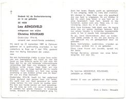 Devotie - Doodsprentje Overlijden - Oudstrijder - Leo Aengeveld - Ophoven 1889 - Bree 1974 - Todesanzeige
