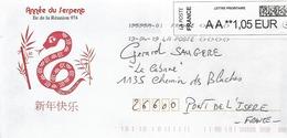 """Lettre  """"  Ile De La Réunion  ( 974 )  Année Du Serpent    Daté Du 13 - 04 - 2018 - France"""