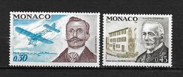 """MONACO  1972  Lot 2 Timbres  """" Anniversaires """" N° 910 Louis BLERIOT  N° 911 A ESCOFFIER   NEUFS - Ungebraucht"""