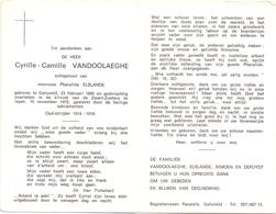 Devotie - Doodsprentje Overlijden - Oudstrijder - Cyrille Camille Vandoolaeghe - Geluveld 1890 - Ieper 1972 - Todesanzeige