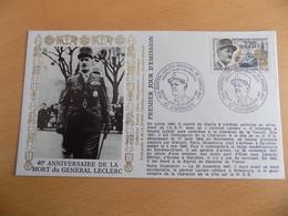 FDC  France : 40è Anniversaire De La Mort Du Général Leclerc - Strasbourg 23/11/1987 - 1980-1989