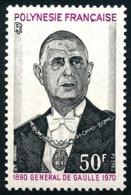 POLYNESIE 1971 - Yv. 90 ** SUP  Cote= 32,50 EUR - Général De Gaulle  ..Réf.POL23832 - French Polynesia