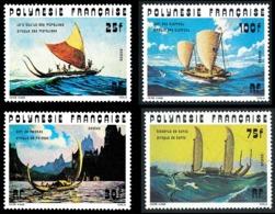 POLYNESIE 1976 - Yv. 111 112 113 114 **   Cote= 23,80 EUR - Bateaux : Pirogues Anciennes (4 Val.)  ..Réf.POL23853 - Unused Stamps